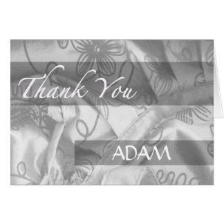 White Silk and Satin Thank You Greeting Card
