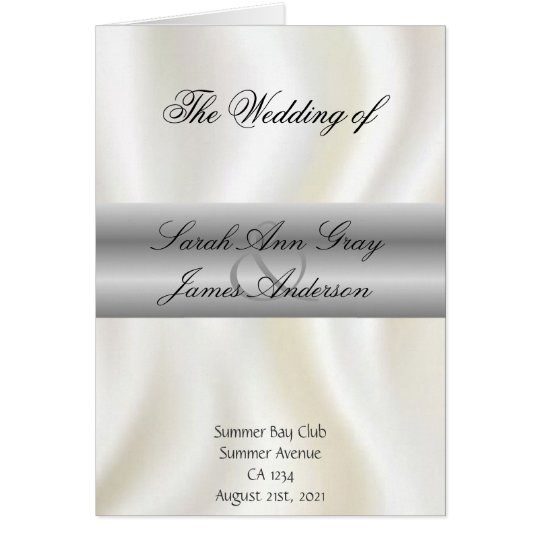 White silk Wedding program