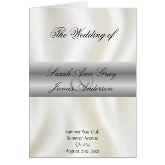 White silk Wedding program Card