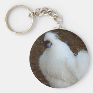 White Silkie Chicken Key Ring