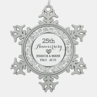 White & Silver 25th Wedding Anniversary Pewter Snowflake Decoration
