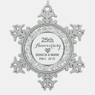 White & Silver 25th Wedding Anniversary Pewter Snowflake Decoration