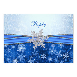 White, silver, blue snowflakes RSVP Card