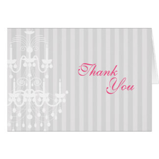 White & Silver Chandelier Striped Thank You Card