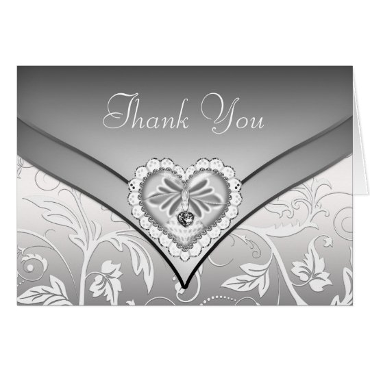White Silver Diamond Heart Thank You Cards