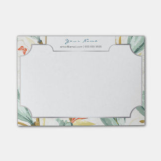 White Silver Frame Butterfly Mint Tropical Floral Post-it Notes