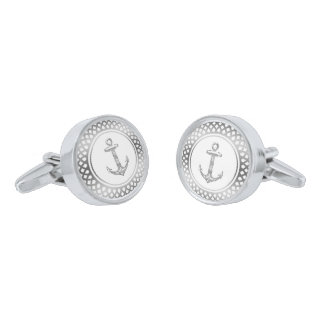 White & Silver frame & Nautical Boat Anchor Silver Finish Cuff Links