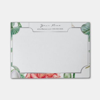 White Silver Frame Pink Rose Tropical Floral Post-it Notes