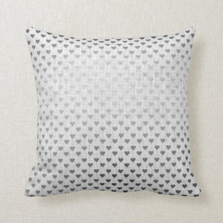 White Silver Gray Metallic Hearts Linen Cottage Cushion