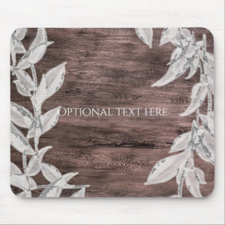 White & Silver Leaves & Rustic Wood Elegant Mouse Pad