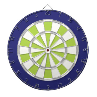 White, Silver, Lime, And Navy Dartboard