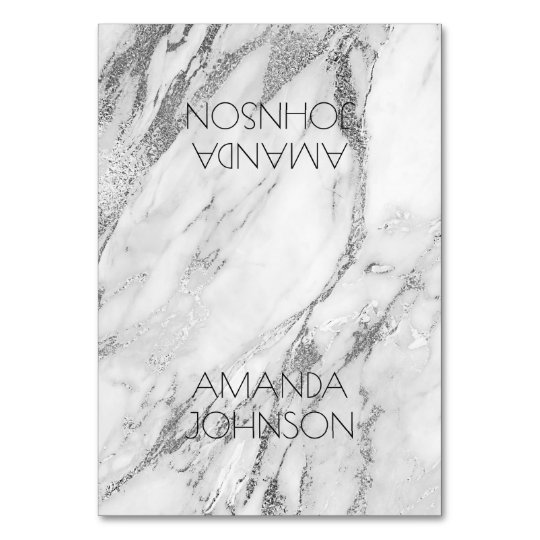 White Silver Marble Table Card Personalized Name