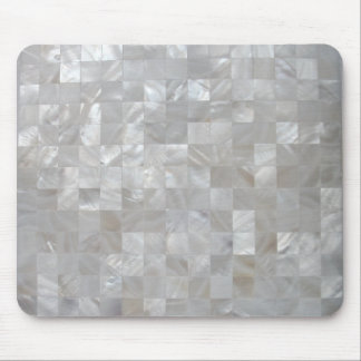 White Silver Mother Of Pearl Tiled Mouse Mat