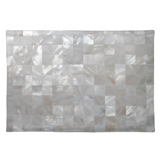 White Silver Mother Of Pearl Tiled Place Mats