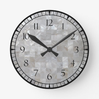 White Silver Mother Of Pearl Tiled With Numbers Round Clock