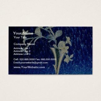 white Silver rain flowers Business Card