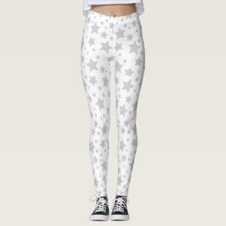 White Silver Stars Leggings