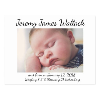 White Simple  Baby Boy Birth Announcements Postcard