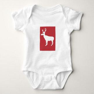 White Single Reindeer Infant Creeper/Babygro Baby Bodysuit
