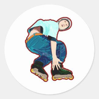 White Skater Round Stickers