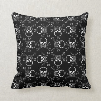 White Skull and Crossbones Cushion