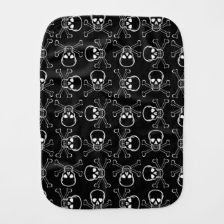 White Skull and Crossbones graphic Pattern Burp Cloth