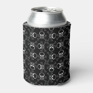 White Skull and Crossbones graphic Pattern Can Cooler