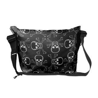 White Skull and Crossbones graphic Pattern Commuter Bag
