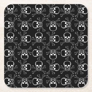 White Skull and Crossbones graphic Pattern Square Paper Coaster