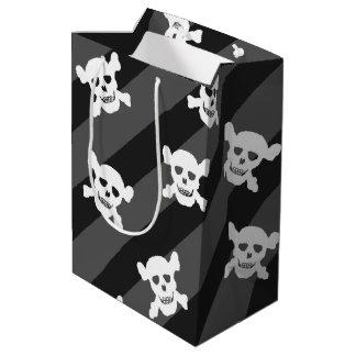 White Skull and Crossbones on Black Stripes Medium Gift Bag