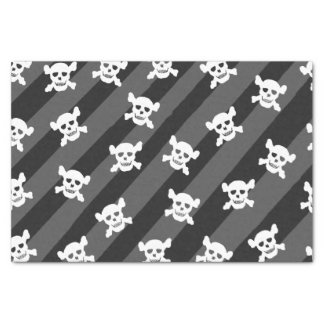 White Skull and Crossbones on Black Stripes Tissue Paper