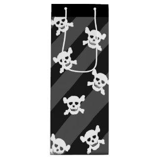 White SKull and Crossbones on Black Stripes Wine Gift Bag