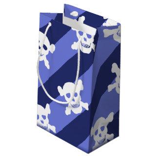 White Skull and Crossbones on Blue Stripes Small Gift Bag