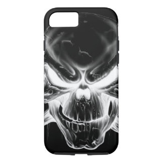 white skull head on black background iPhone 7 case