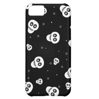 white skull heads on black background iPhone 5C case