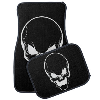White Skull on Black Car Mat