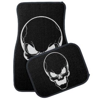White Skull on Black Floor Mat