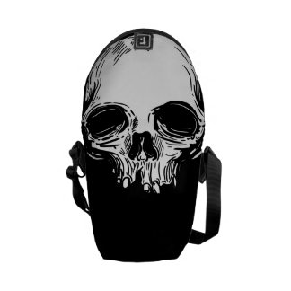White Skull on Black Messenger Bag