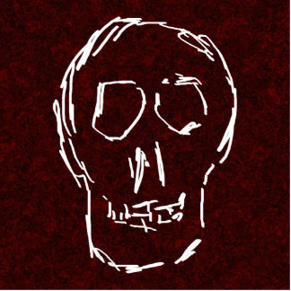 White Skull Sketch On Red and Black Photo Cut Outs