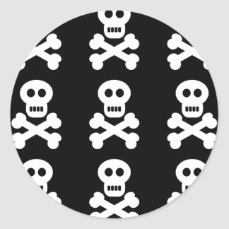 White Skulls Round Sticker