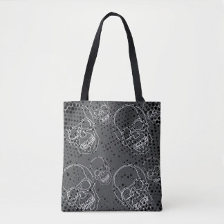 White skulls with rustic grunge halftones tote bag