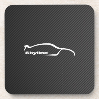 White Skyline GT-R Silhouette with Faux Carbon Beverage Coaster