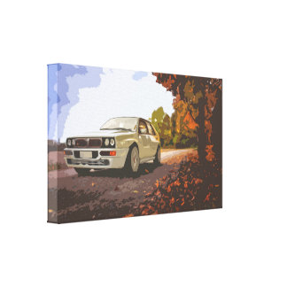 White Small Car on a Road in Autumn Colors Canvas