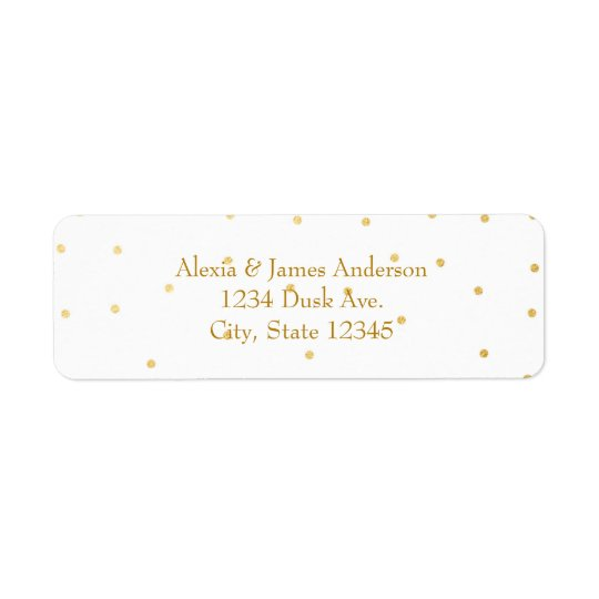 White Small Gold Foil Elegant Invitation Labels
