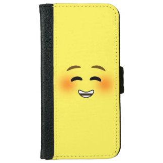 White Smiling Emoji iPhone 6 Wallet Case