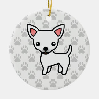 White Smooth Coat Chihuahua Cartoon Dog Christmas Ornament