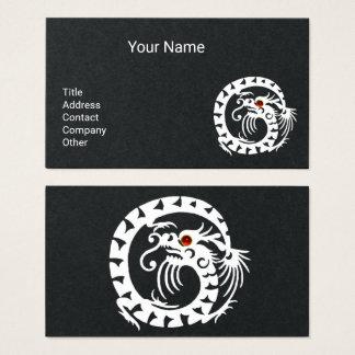 WHITE SNAKE DRAGON,RED RUBY GEMSTONE Black Paper Business Card