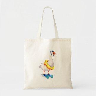 White Snorkeling Goose Tote Bag