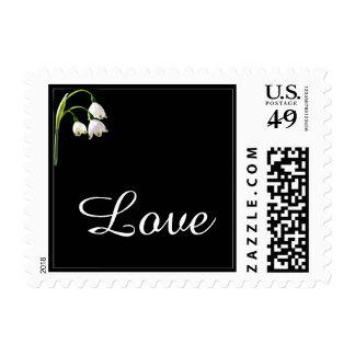 White Snow Bell Flowers Wedding Love Postage Stamp
