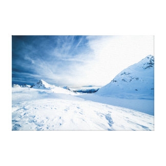 White Snow Covered Mountain Under Blue Sky Canvas Print